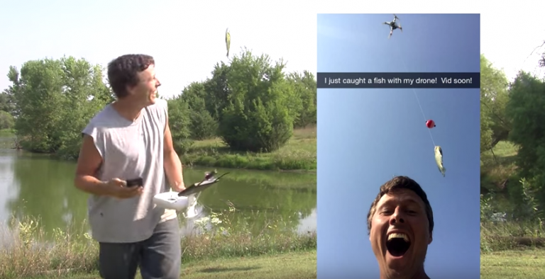 Guy Gone Drone Fishing and Caught One!