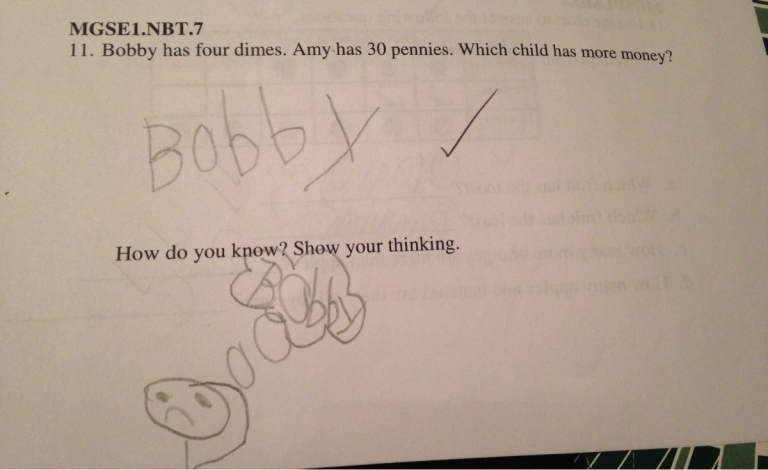 This kid knows how to show his thinking.... #lol