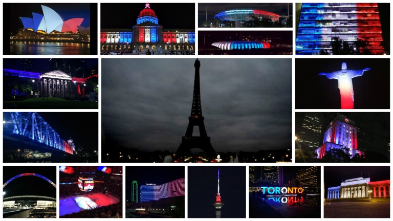 When the #Paris lights turned off, the rest of the world turned them on...
