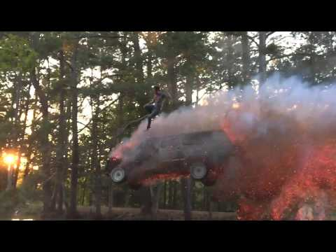 Someone decided to jump off a burning vehicle to the water and posted it on YouTube
