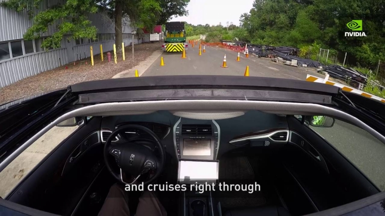 NVIDIA AI Car Demonstration: The car learns on its own by observing human drivers