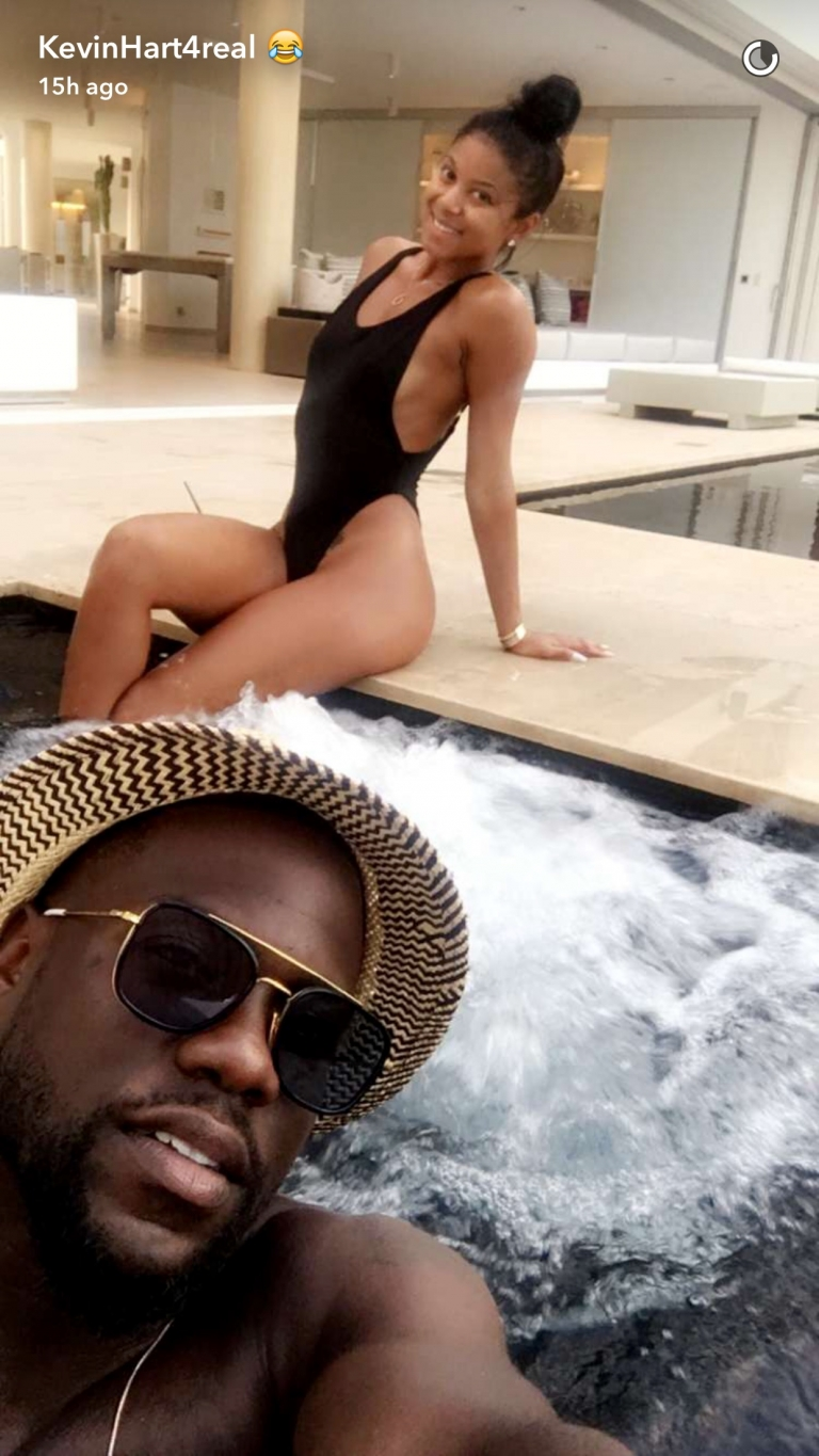 Kevin Hart snapchats St. Barts honeymoon with Eniko Parrish #lilswag79
