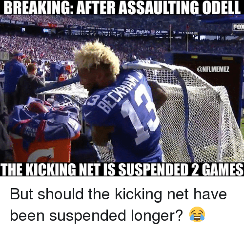 Odell Beckham Jr. Assaulting the Kicking Net