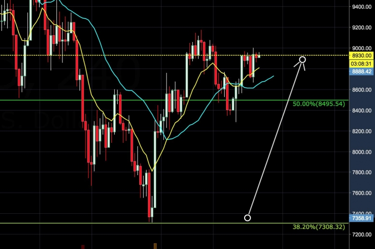 BTC-USD Bounced from $7300 to $9000+ for 20%+ Profit