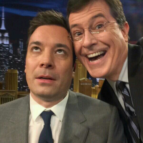 The #selfie that Stephen Colbert took with Jimmy Fallon at 'The Tonight Show'