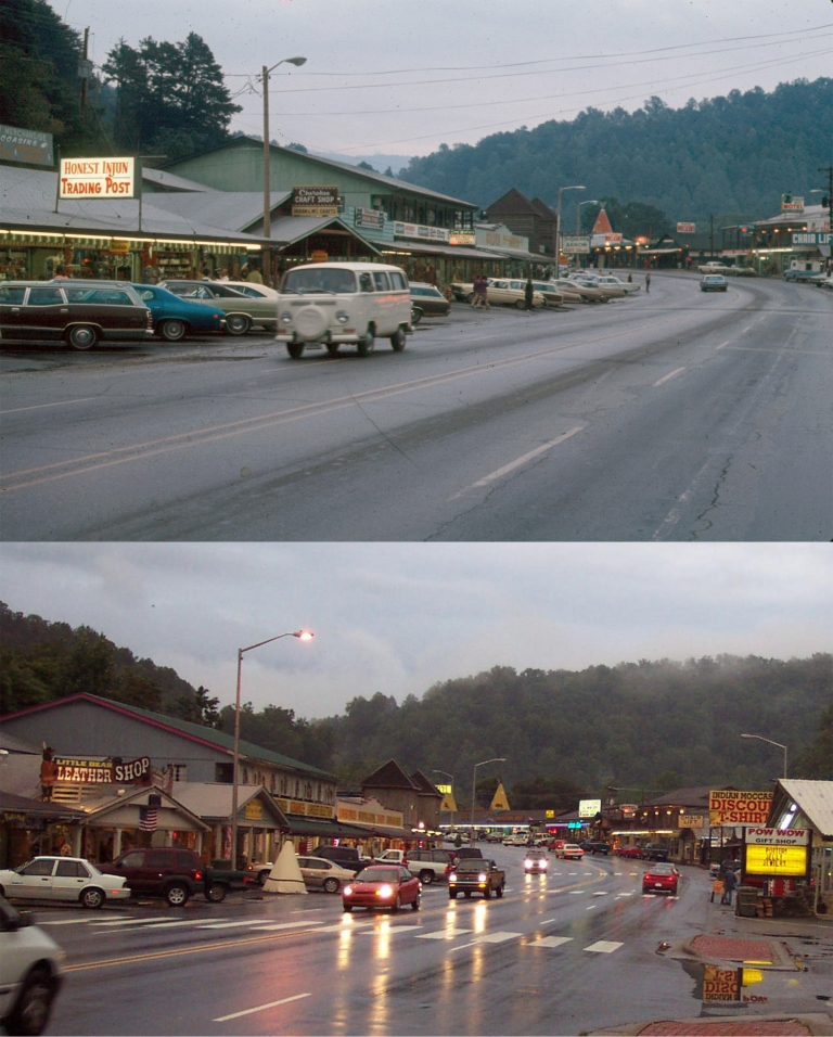 Son took a photo of this place in Cherokee, NC in 2005. Dad realized he took almost the same pic in 1971.