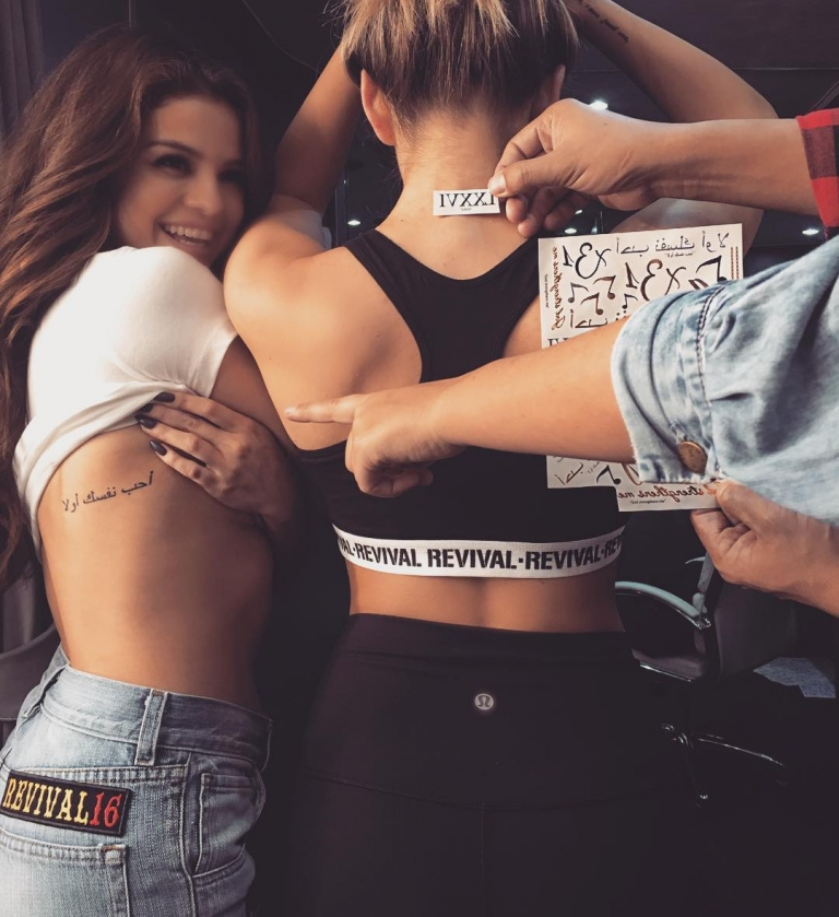 Selena Gomez shows off her tattoos on Instagram
