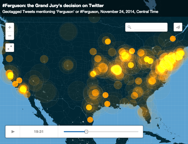 Twitter Chart Visualization For #Ferguson Hashtag After The Grand Jury Decision