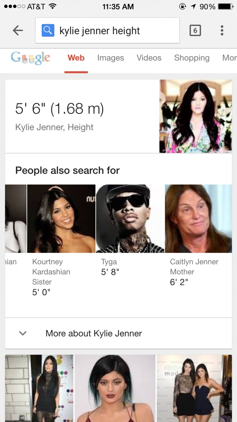 Googled Kylie Jenner's height... I got a bonus, Caitlyn is now the mother #lol