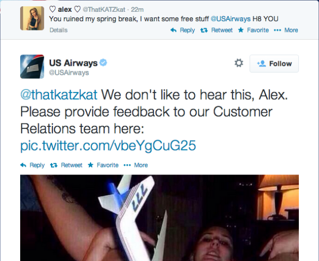 US Airways tweeted a pic of a woman pleasuring herself with a model plane... #WTF