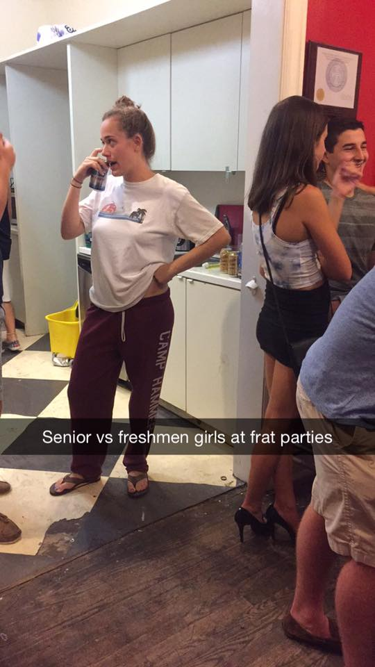 Senior vs Freshman Girls at College Frat Parties