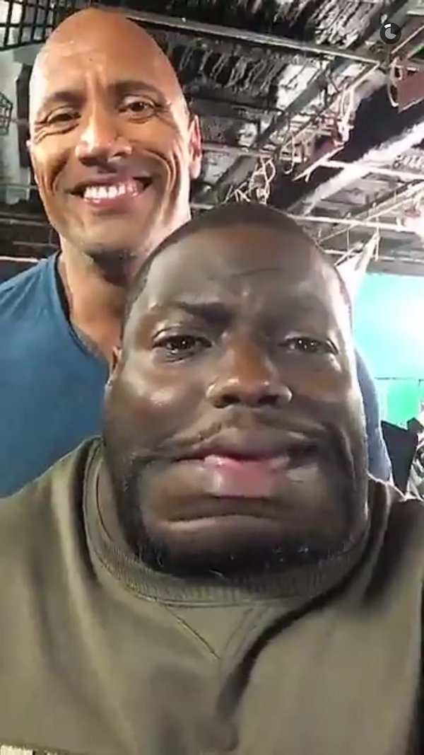 "Dwayne ""The Rock"" Johnson snapchat with Kevin Hart"