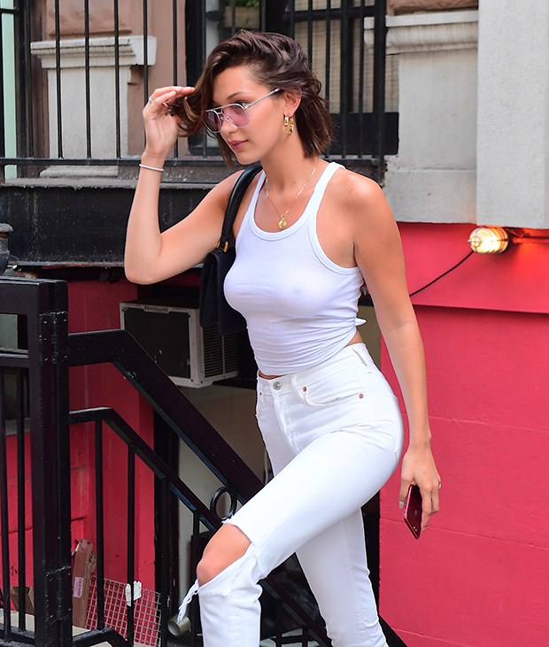 c1741499 Bella Hadid Goes #Braless in a Sexy White Tank Top and White Jeans ...