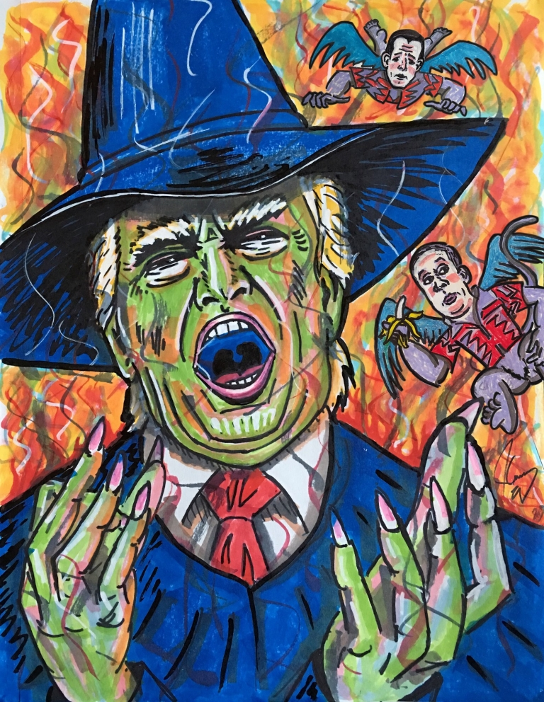 Jim Carrey followed up with his Sarah Sanders' painting with President Trump portrait of himself