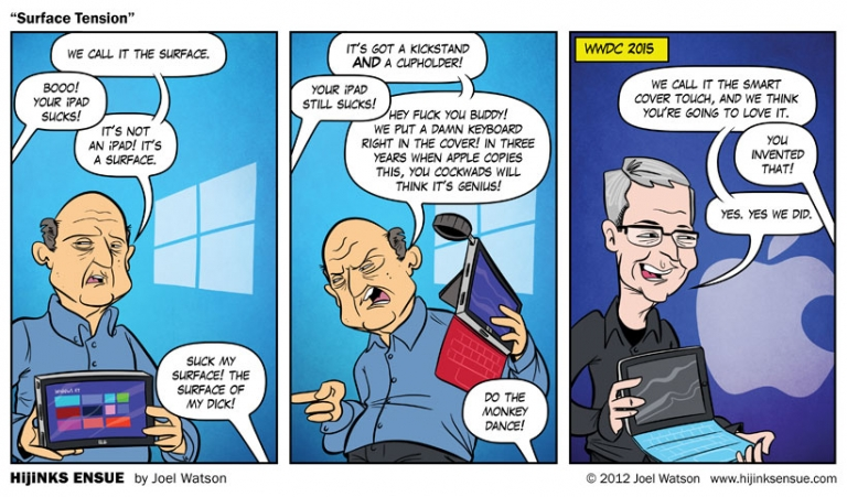 This comic back in 2012 nailed it about the new iPad copying the keyboard cover from Surface