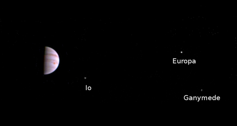 NASA Juno Spacecraft First Image of Jupiter and its Moons