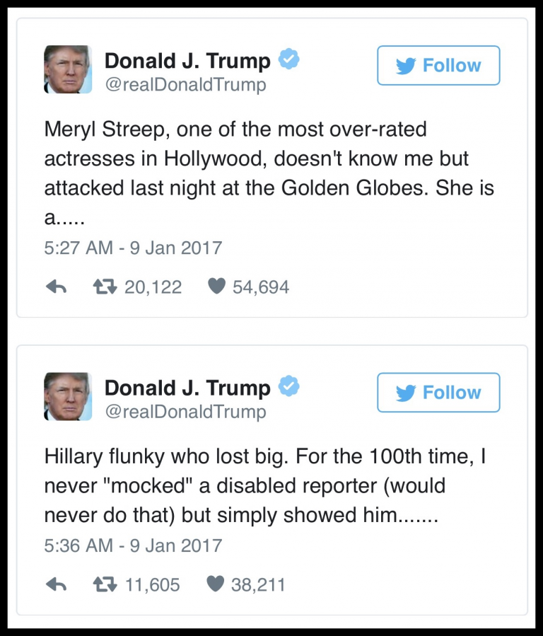 Thin-skinned President-elect Donald Trump responded to Meryl Streep on Twitter as always