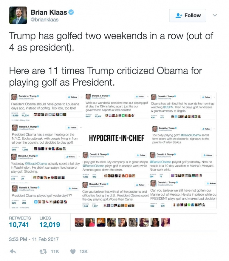 Trump is our Hypocrite-in-chief, criticized Obama many times for golfing, he already played golf two weekends in a row