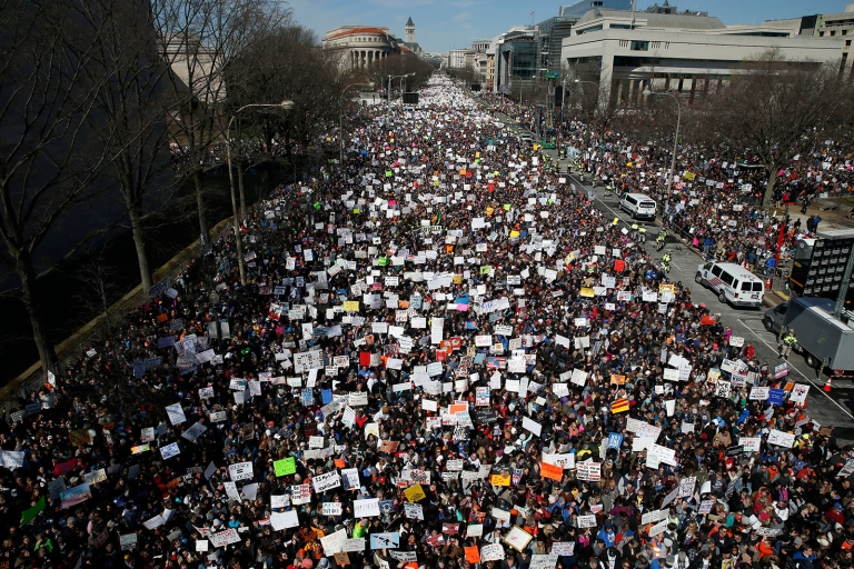 The #MarchForOurLives Protests Attendance Looks Like More Than Trump's Inauguration Attendance