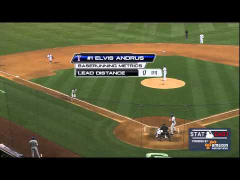 Elvis Andrus of Texas Ranges Races To Steal Home From 3rd Base