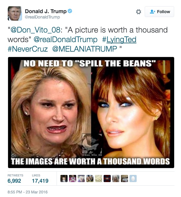 Donald Trump retweets a photo comparing looks of his wife Melania Trump to Ted Cruz's wife