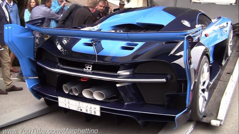 Bugatti Vision GT runs out of fuel trying to load into truck