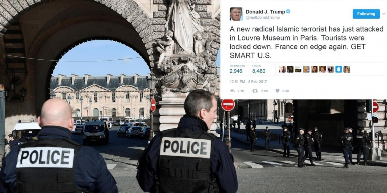 Trump just tweeted about 'Islamic terror' attack in Paris that killed 0. Still nothing about white terrorist who shot 6 in Canada mosque...