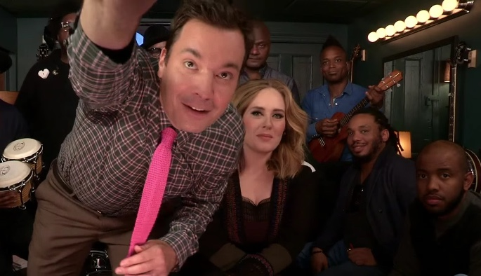 """Jimmy Fallon, Adele & The Roots Sing """"Hello"""" (w/ Classroom Instruments)"""