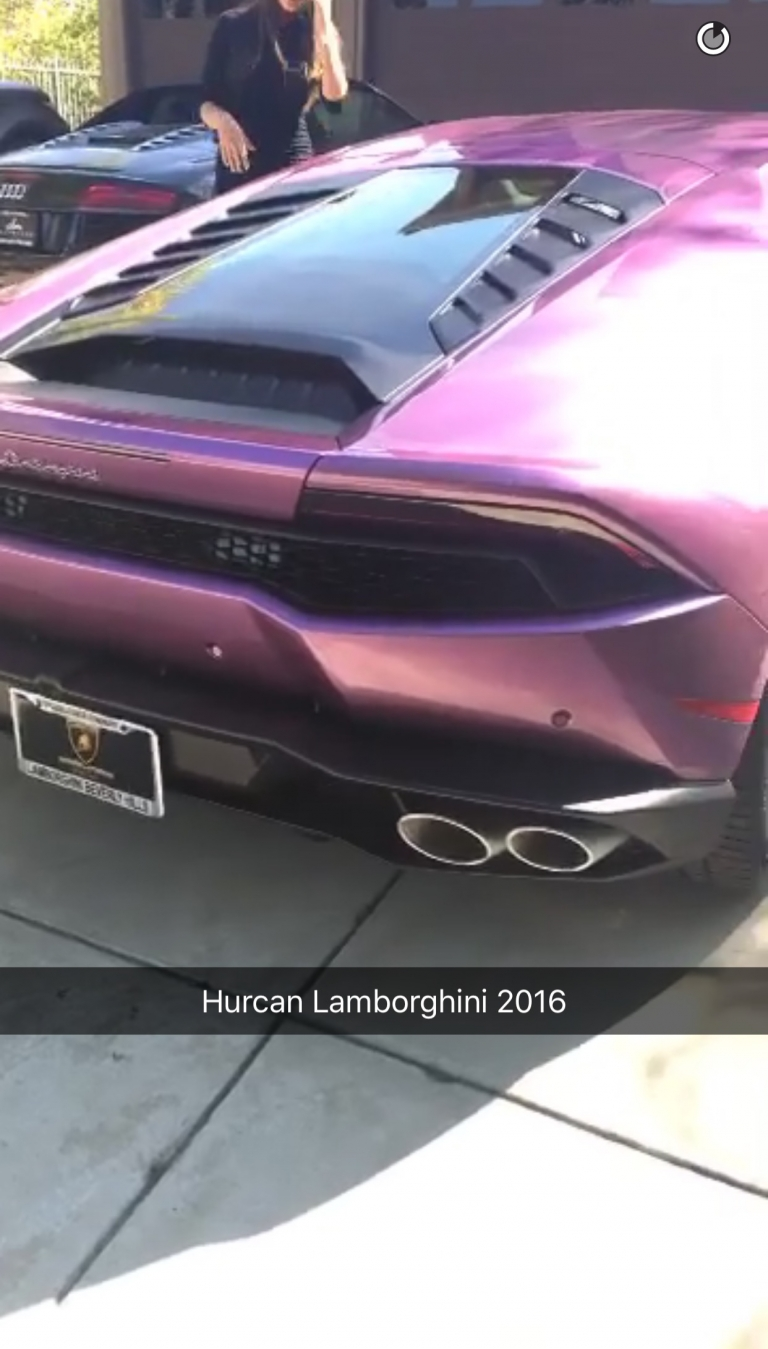 Blac Chyna Posted Snapchat Showing Off Purple Lamborghini Given By