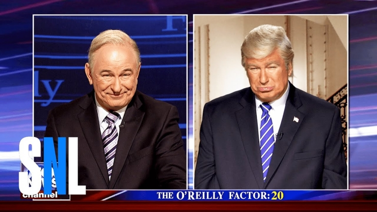 Alec Baldwin appears as both President Trump and Bill O'Reilly on #SNL