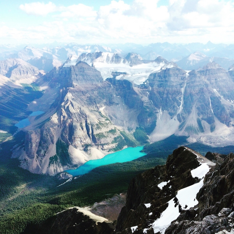 Moraine Lake, Alberta, Canada From the Summit of Mount Temple