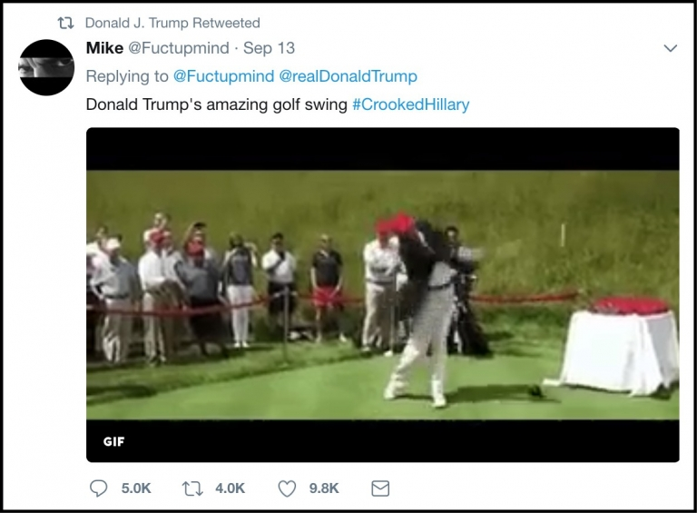 President Trump retweets animated gif hitting Clinton with golf ball