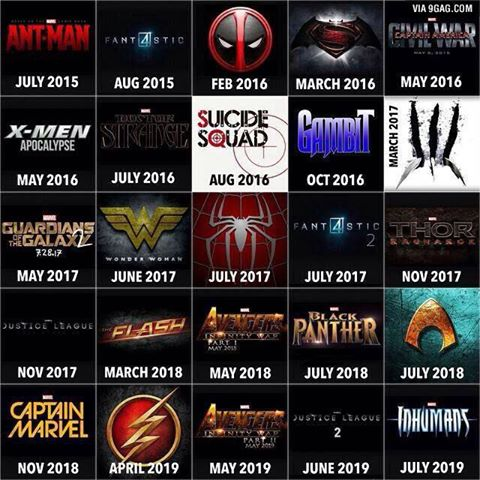 Here's the upcoming superhero movies for the next five years...