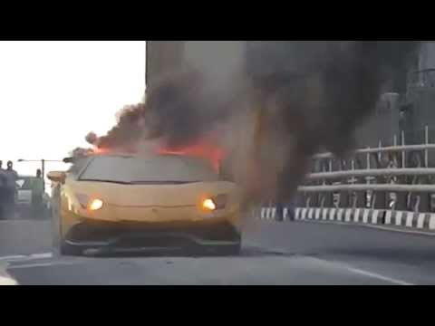 #Lamborghini #Aventador caught on fire on the streets of Dubai