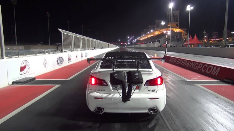 Lexus ISF Twin Turbo Flies Off The Track During Drag Race