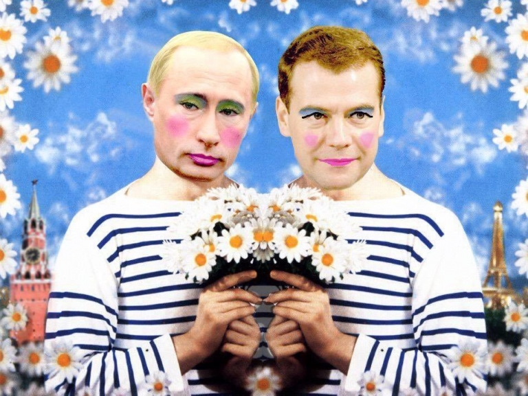 Reposting this gay Putin picture is considered extremism in Russia punishable by up to 5 years in prison