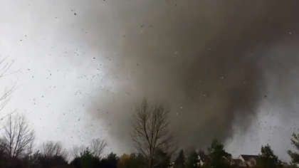 Man's video of Washington, IL #tornado as it destroyed his house while they are inside