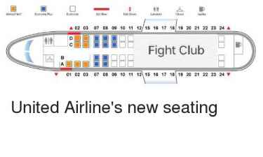"United Airlines new seating chart... ""The Fight Club"" 🤣"