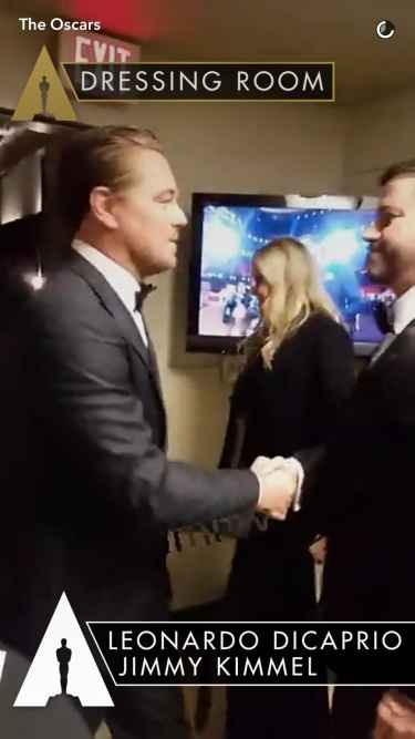 #Oscars2017: Leonardo DiCaprio backstage congratulates Jimmy Kimmel for his job hosting the Oscars