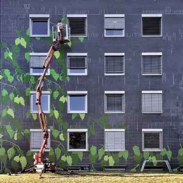 Leafy urban artwork in Frankfurt by Marcus Wagner