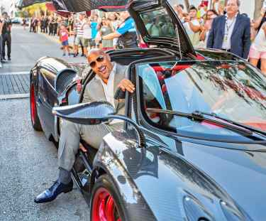The Rock is too big to fit in a Pagani!