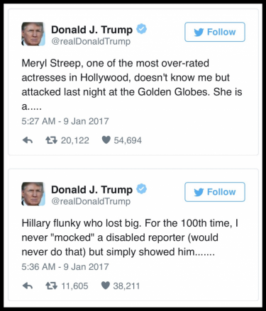 Donald Trump responded to Meryl Streep on Twitter