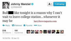 What Johnny Manziel posted on twitter... #Twitter_Fail