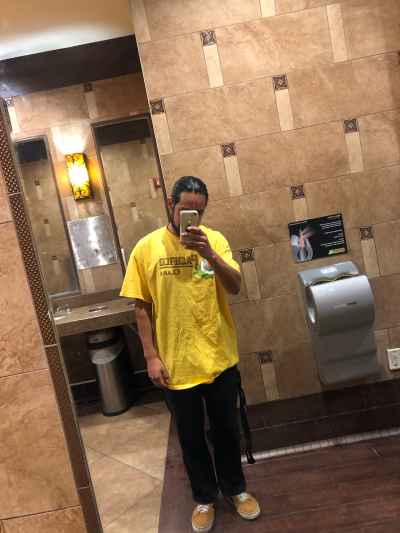 I got free the shirt Pacifico Clara at the bar. Im at the mall in restroom take a selfie 😄