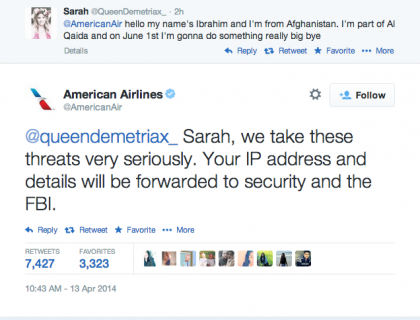 @QueenDemetriax_ aka Ibrahim from Afghanistan and part of Al Qaida tweeted a threat to American Airlines #DumbestTweets