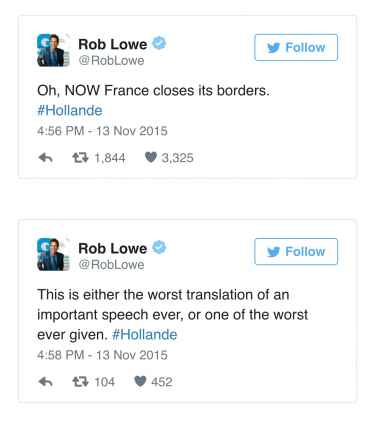 Rob Lowe's Insensitive Tweets About The Paris Attack