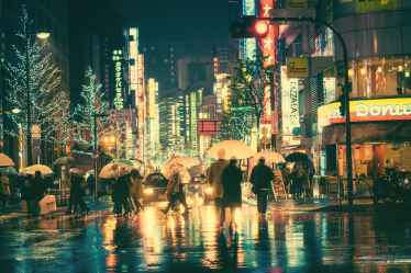 A Colorful, Rainy Evening in Tokyo