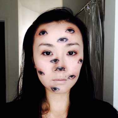 This girl put eyes all over her face for #halloween...