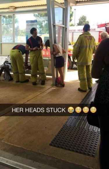 Girl's head got stuck... here comes fire and rescue... #LOL