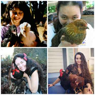 "When she was 7, kids called her ""crazy chicken lady""... now she's all grown up... nothing has changed"